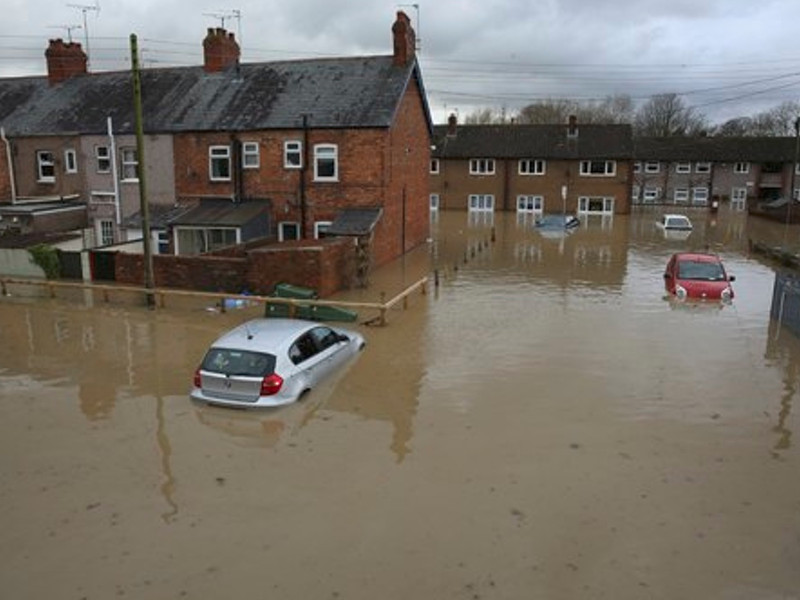 Flooded Street in the UK